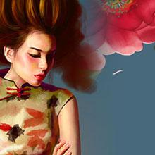 3.8-女神节-妇女节-节日素材-H5素材-古典-美女-花卉