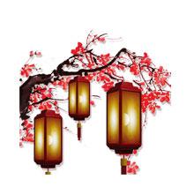 元宵节-元宵-彩色-节日-梅花-灯笼