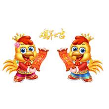 2017-新年-鸡年-中国风-卡通鸡年吉祥物