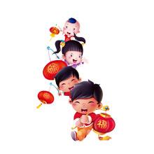 2017-新年-鸡年-中国风-灯笼-中国娃娃-吉祥如意