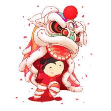 2017-新年-鸡年-中国风-舞狮子-中国娃-吉祥如意